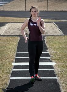 Tasha Schaffer on the track at Prairie Ridge High School for a portrait on Friday, March 23, 2018 in Crystal Lake, Illinois. John Konstantaras photo for Shaw Media