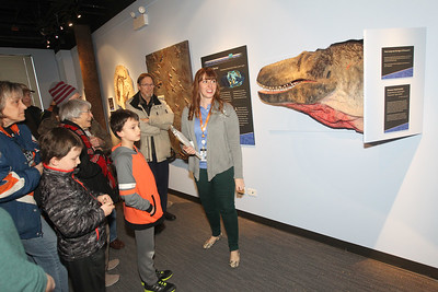 Candace H. Johnson-For Shaw Media Nicole Stocker, of Chicago, (center) museum educator, stops at a model of a Dryptosaurus dinosaur head as she gives a tour during the Grand Opening of the Dunn Museum in the General Offices of the Lake County Forest Preserves on Winchester Road in Libertyville.(3/24/18)