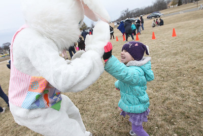 Candace H. Johnson-For Shaw Media Adelyn Besancon, 5, of Wauconda high-fives the Easter Bunny in Cook Park after the Annual Egg Hunt  next to the Community Center in Wauconda.The event was sponsored by the Wauconda Park District.(3/24/18)