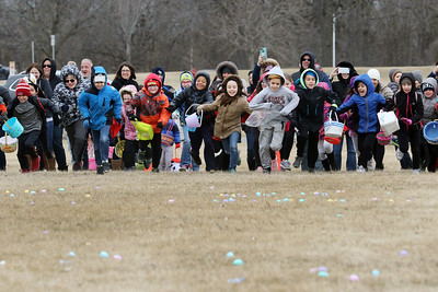 Candace H. Johnson-For Shaw Media Children ages seven to ten-years-old start running to pick up eggs scattered in Cook Park during the Annual Egg Hunt next to the Community Center in Wauconda.The event was sponsored by the Wauconda Park District.(3/24/18)