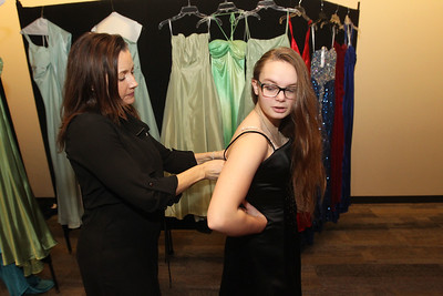 Candace H. Johnson-For Shaw Media Patty Gmitrovic, of Island Lake, children's programming assistant, helps Michaela Milliman, 15, of Wauconda try on a donated dress she can take home for free at the Prom Dress Shoppe at the Wauconda Area Library.