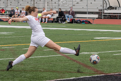 Huntley's Brenna Keegan stretches out to drive the ball toward the goal Wednesday, March 28, 2018 in Huntley. Huntley went on to beat Elgin 3-0. KKoontz- For Shaw Media