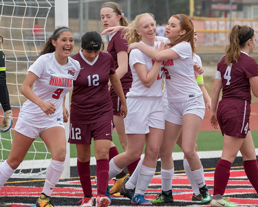 Huntley teammates celebrate after Katie Matustik scores a first half goal Wednesday, March 28, 2018 against Elgin. Huntley went on to win 3-0. KKoontz- For Shaw Media