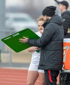 Huntley's girls' soccer head coach Matt Lewandowski draws up a play Wednesday, March 28, 2018 in Huntley. Huntley went on to win the game beating Elgin 3-0. KKoontz- For Shaw Media
