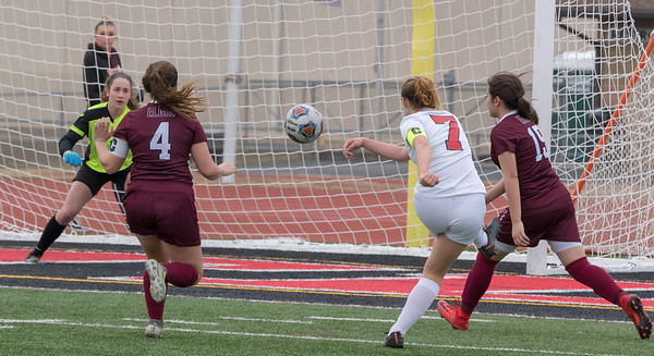Huntley's Brenna Keegan (7) takes a shot on goal Wednesday, March 28, 2018 in Huntley. Huntley went on to win the game beating Elgin 3-0. KKoontz- For Shaw Media