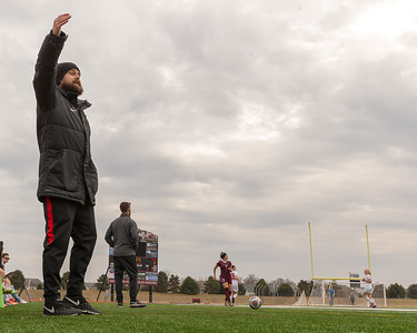Huntley High School girls' soccer head coach Matt Lewandowski directs his team Wednesday, March 28, 2018 during the game against Elgin. Huntley went on to win 3-0. KKoontz- For Shaw Media