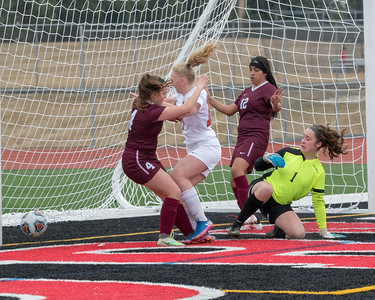 Huntley's Katie Matustik drives the ball through the Elgin defense for a first half goal Wednesday, March 28, 2018 in Huntley. Huntley went on to win the game 3-0. KKoontz- For Shaw Media