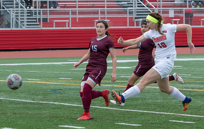 Huntley's Elizabeth Talesky drives the ball downfield against Elgin Wednesday, March 28, 2018 in Huntley.  Huntley went on to win, 3-0. KKoontz- For Shaw Media