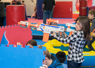 Haleah (age 8) from Woodstock defends her flag during the Nerf War Games Saturday, March 31, 2018 in Woodstock. The Young Master Martial Arts holds the event at their facility on the Woodstock Square throughout the year.  KKoontz – For Shaw Media