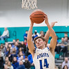 Whitney Rupp for Shaw Media<br /> Zach Schutta collects a rebound for the Burlington Central Rockets Tuesday, March 6 in the Class 3A sectional semifinal.