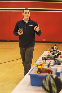 Candace H. Johnson-For Shaw Media Joe Quinn, co-owner, talks about his McHenry business called, Snapology, which promotes STEAM programs for children during the Business & Craft Expo at Grant Community High School in Fox lake. The event was sponsored by the Fox Lake, Richmond and Spring Grove Area Chamber of Commerce. (3/2/19)