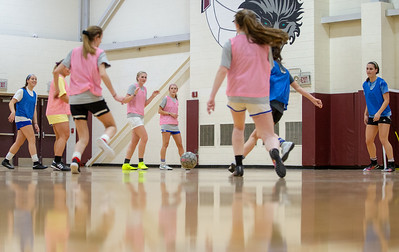 The Prairie Ridge girls' soccer team practices indoors Tuesday, March 12, 2019 in Crystal Lake. The team finished with a 17-1 record last year and have eight returning seniors. KKoontz – For Shaw Media