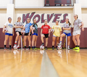 Prairie Ridge girls soccer seniors (from left) Abby Klimkowski, Abby Eriksen, Nicole Anderson, Abby Gunwall, Olivia Ott, Catherine Crounse, Madison Kachelmuss, and Emily Eriksen pose for a photo during a break while at practice Tuesday, March 12, 2019 in Crystal Lake. The team went 17-1 last year and hope for a strong season this year. KKoontz – For Shaw Media