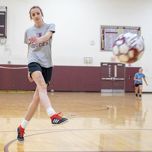 Prairie Ridge returning senior Abby Eriksen practices soccer drills Tuesday, March 12, 2019 in Crystal Lake. KKoontz – For Shaw Media