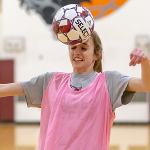 Prairie Ridge senior Abby Eriksen works on soccer drills during practice Tuesday, March 12, 2019 at Prairie Ridge high school in Crystal Lake. Eriksen is one of eight returning seniors who finished with a 17-1 record last year.  KKoontz – For Shaw Media