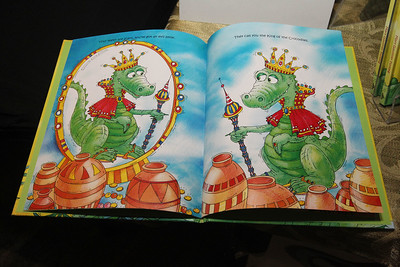 """Candace H. Johnson-For Shaw Media Illustrations made by Aija Jasuna line the pages of the children's book called, """"Nile, Nile, Crocodile,"""" were shown by the author, Mary Furlong, of Wauconda during the Local Author Fair at the Wauconda Area Library. The music-based book contains a CD with original music.(3/9/19)"""