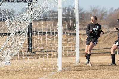 Woodstock North's Taylor Prerost scores her first of four goals against Richmond-Burton Thursday, March 21, 2019 in Woodstock. Woodstock North went on to win 5-0.  KKoontz – For Shaw Media