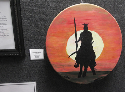 """Candace H. Johnson-For Shaw Media Richard Simmons presented an assemblage piece titled, """"Sunset the Warrior Awakens,"""" during the Veterans Creative Arts Festival at the College of Lake County in Grayslake. (3/14/19)"""