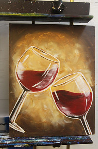 Candace H. Johnson-For Shaw Media A sample of the wine glasses painting used for reference during a Paint & Sip art class at Studio 25 Art Creations on Nippersink Blvd. in Fox Lake.The next Paint & Sip will be on March 30th, with a lighthouse as the theme. (3/22/19)