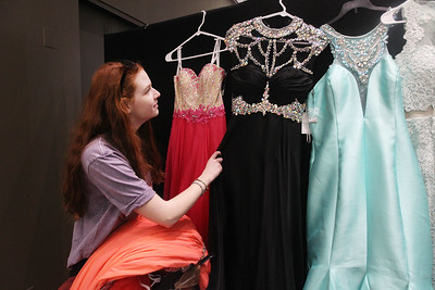 Candace H. Johnson-For Shaw Media Shannon McNutt, 17, of Island Lake looks at dresses to wear to her prom at the Prom Shoppe in the Wauconda Area Library. (3/23/19)