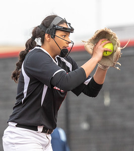 Huntley High School starting pitcher Briana Bower readies a pitch against DeKalb Thursday, March 28, 2019 at the Chicago Bandits Stadium in Rosemont. Bower struck out 18 of the 25 batters that she faced in the 4-0 shutout.  KKoontz – For Shaw Media