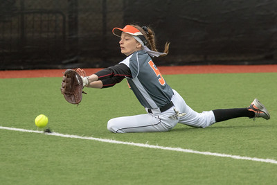 The ball just gets by DeKalb high school left fielder Kate Wellman Thursday, March 28, 2019 at Chicago Bandits Stadium in Rosemont. Huntley took the non-conference win, 4-0. KKoontz – For Shaw Media
