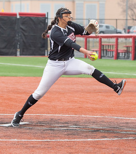 Huntley High School starting pitcher Briana Bower delivers a pitch against DeKalb Thursday, March 28, 2019 at the Chicago Bandits Stadium in Rosemont. Bower struck out 18 of the 25 batters that she faced in the 4-0 shutout.  KKoontz – For Shaw Media