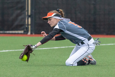 DeKalb high school left fielder Kate Wellman makes a diving catch against Huntley Thursday, March 28, 2019 at Chicago Bandits Stadium in Rosemont. Huntley took the non-conference win 4-0. KKoontz – For Shaw Media