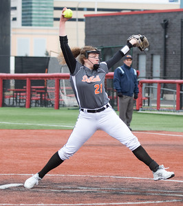 DeKalb High School starting pitcher Ashley Nelson delivers a pitch against Huntley Thursday, March 28, 2019 at Chicago Bandits Stadium in Rosemont. Huntley took the non-conference win, 4-0  KKoontz – For Shaw Media