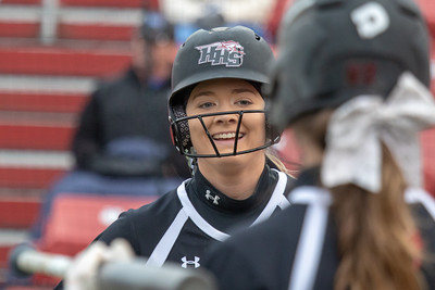 Huntley High School sophomore Grace Kutz is all smiles after scoring against DeKalb Thursday, March 28, 2019 at the Chicago Bandits Stadium in Rosemont. Huntley gets the win with a 4-0 shutout.  KKoontz – For Shaw Media