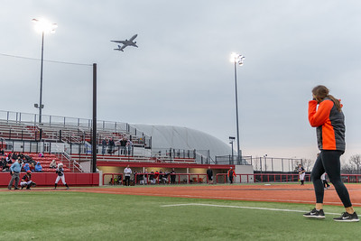 The jets leaving O'Hare International Airport made hearing a little tough during the high school game between Huntley and Dekalb Thursday, March 28, 2019 at Chicago Bandits Stadium in Rosemont. Huntley took the 4-0 non-conference win with pitcher Briana Bower striking out 18. KKoontz – For Shaw Media