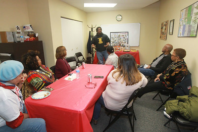 Candace H. Johnson-For Shaw Media Leodis Evans, of Waukegan, an Army veteran, talks about his experiences coming home from Iraq after serving in the military during the 4th Annual Chat N' Chew to honor African American Vets and Families during Black History Month at the Lake County Veterans and Family Services Foundation in Grayslake. (2/26/20)