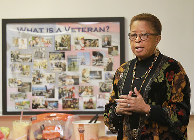 Candace H. Johnson-For Shaw Media Dr. Mary Roberson, social services supervisor and Navy veteran, talks to a group of veterans attending the 4th Annual Chat N' Chew to honor African American Vets and Families during Black History Month at the Lake County Veterans and Family Services Foundation in Grayslake. (2/26/20)