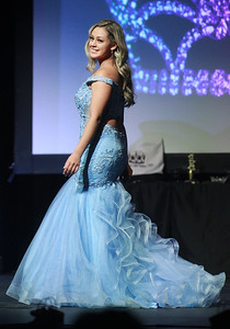 Candace H. Johnson-For Shaw Media Celeste Cortes, Miss Mundelein takes a walk on stage as a contestant for Miss Lake County during the 2020 Lake County Illinois State Pageant at Antioch Community High School. (2/29/20)