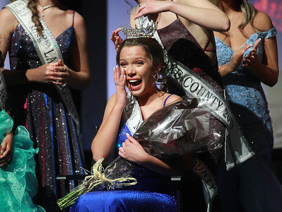 Candace H. Johnson-For Shaw Media Lauren Allen, 19, Miss Gurnee, wipes away a tear as she is crowned Miss Lake County during the 2020 Lake County Illinois State Pageant at Antioch Community High School. (2/29/20)