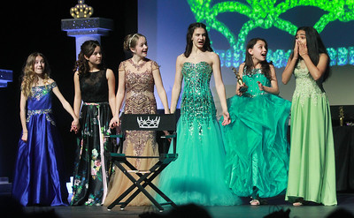 Candace H. Johnson-For Shaw Media Rachel Varghese, 12, Junior Miss Lake County Area of Long Grove, (on right) reacts after finding out she won the title of Junior Miss Lake County during the 2020 Lake County Illinois State Pageant at Antioch Community High School. (2/29/20)