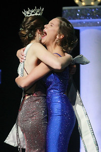 Candace H. Johnson-For Shaw Media Lauren Allen, 19, Miss Gurnee, (on right) reacts to winning the title, Miss Lake County 2020, as she is hugged by Madeline Gutierrez, 19, of Vernon Hills, Miss Lake County 2019 during the 2020 Lake County Illinois State Pageant at Antioch Community High School. (2/29/20)