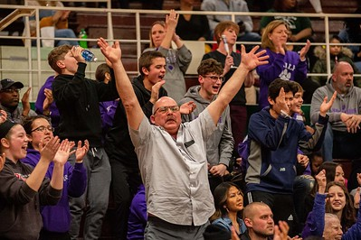 Hampshire fans react to a play during the fourth quarter of the Class 3A Boylan Sectional semifinal game in Rockford on Wednesday, Mar. 11, 2020. Randy Stukenberg for Shaw Media.