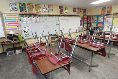 Candace H. Johnson-For Shaw Media A math classroom sits quiet at Gavin South Middle School in Ingleside. (3/16/20)