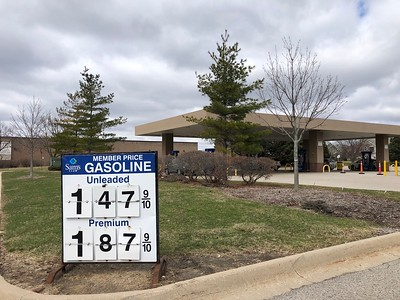 Gas prices at Sam's Club on Northwest Highway in Crystal Lake on Monday, March 30, 2020.