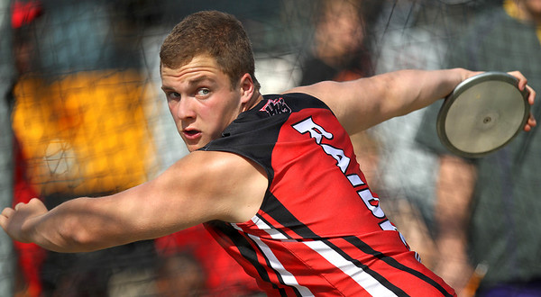Mike Greene - mgreene@shawmedia.com Huntley's Justin Herbert winds while throwing in the discus finals at the Boy's IHSA Sectional Track and Field Meet Thursday, May 17, 2012 in Rockton. Hertbert took sixth place in the event with a throw of 140ft 10in.