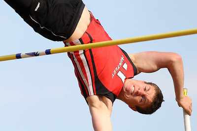 Mike Greene - mgreene@shawmedia.com Huntley's Ryan Sheehan attempts a jumpt of 14ft 3in while competing in the pole vault finals at the Boy's IHSA Sectional Track and Field Meet Thursday, May 17, 2012 in Rockton. Sheehan missed the jump, but finished in third place with a jump of 13ft 9in.