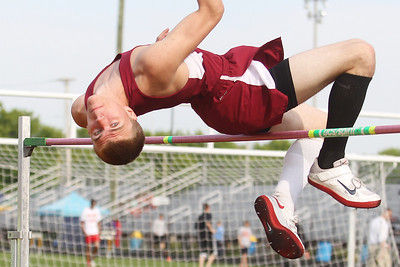 Mike Greene - mgreene@shawmedia.com Prairie Ridge's C.J. Eikum watches his clearence while competing in the high jump finals at the Boy's IHSA Sectional Track and Field Meet Thursday, May 17, 2012 in Rockton. Eikum took second place in the event with a jump of 6 feet 3 inches.