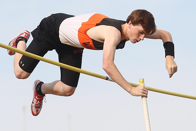 Mike Greene - mgreene@shawmedia.com McHenry's Nate Richartz momentum stops momentarily while competing in the pole vault finals at the Boy's IHSA Sectional Track and Field Meet Thursday, May 17, 2012 in Rockton. Richartz took first place in the event with a jump of 14 feet 9 inches.