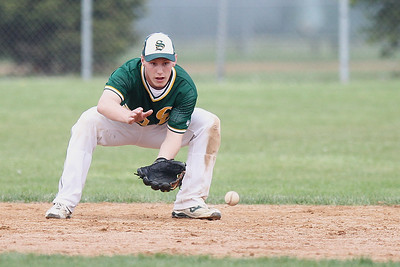Mike Greene - mgreene@shawmedia.com Crystal Lake South's Tyler Salm looks a ball into his glove during the top of the seventh inning in a game against Prairie Ridge Tuesday, May 1, 2012 in Crystal Lake. Crystal Lake South won the game 2-0.