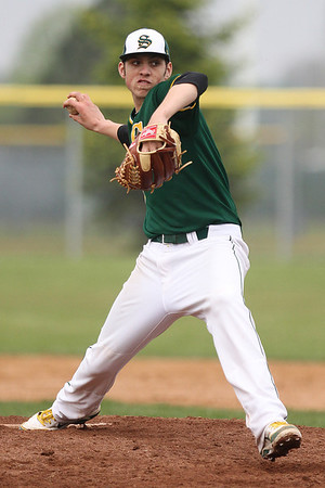 Mike Greene - mgreene@shawmedia.com Crystal Lake South's Zack Geib pitches during the seventh inning of a game against Prairie Ridge Tuesday, May 1, 2012 in Crystal Lake. Geib pitched a complete game shut out as Crystal Lake South won the game 2-0.