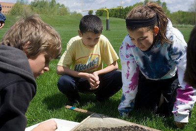 Mike Greene - mgreene@shawmedia.com Hannah Beardsley Middle School students Billy Keaty (center) and Jordan Blanco look for critters caught in a silt screen from a stram behind Prairie Ridge High School Tuesday, May 8, 2012 in Crystal Lake. The event, organized by seventh grade biology teacher Carol Sevrey and Friends of the Fox, gave students a chance to gain hands-on experience and apply skills learned in the classroom. Students at the event measured the physical, chemical, and biological conditions at sites along the stream.