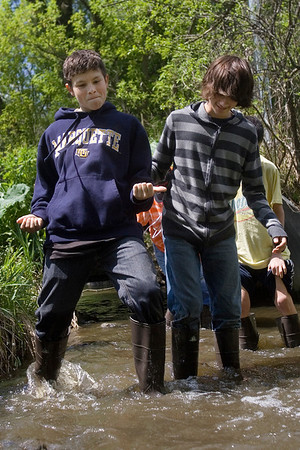 Mike Greene - mgreene@shawmedia.com Hannah Beardsley Middle School student Neal Schnoor dances while trudging through a stream with classmate Jacob Keller Tuesday, May 8, 2012 in Crystal Lake. The event, organized by seventh grade biology teacher Carol Sevrey and Friends of the Fox, gave students a chance to gain hands-on experience and apply skills learned in the classroom. Students at the event measured the physical, chemical, and biological conditions at sites along the stream.
