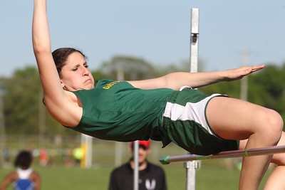Mike Greene - mgreene@shawmedia.com Crystal Lake South's Carly Nolan jumps while competing in the high jump during the IHSA Girls Sectional Championship Meet Thursday, May 10, 2012 in Rockton. Crystal Lake South will be sending two individuals to state.