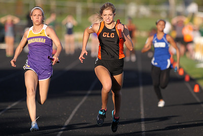 Mike Greene - mgreene@shawmedia.com Crystal Lake Central's Katie Idstein pushes while running the final leg of the 4x100 meter relay at the IHSA Girls Sectional Championship Meet Thursday, May 10, 2012 in Rockton. Crystal Lake Central will send two relay teams and four individuals to state with Idstein qualifying in the 4x100 and 4x200 relays.